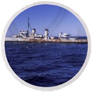 A U.s. Navy Deactivated Ship Sits Ready Round Beach Towel