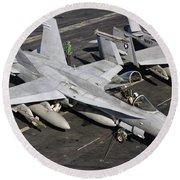 A Us Navy Fa-18c Hornet Parked Round Beach Towel