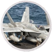 A Us Navy Fa-18c Hornet Tied Round Beach Towel by Giovanni Colla