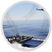 A U.s. Navy Uh-1n Huey Helicopter Round Beach Towel