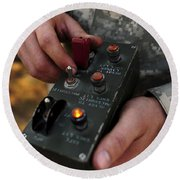 A U.s. Soldier Hits The Button Round Beach Towel by Stocktrek Images