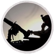 A U.s. Soldier Talks On A Hand Mike Round Beach Towel by Stocktrek Images