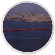A View From Marin Headlands Round Beach Towel