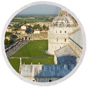 A View From The Bell Tower Of Pisa  Round Beach Towel
