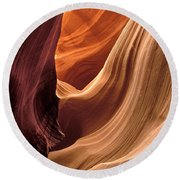A View In A Slot Canyon Round Beach Towel