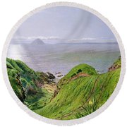 A View Of Ailsa Craig And The Isle Of Arran Round Beach Towel
