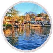 A View Of Disneyland From Tom Sawyer Island  Round Beach Towel