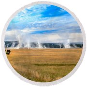A View Of Geysers  Round Beach Towel