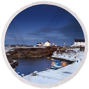 A Village On The Coast Seaton Sluice Round Beach Towel