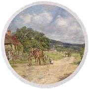 A Village Scene Round Beach Towel