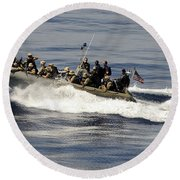 A Visit, Board, Search And Seizure Team Round Beach Towel by Stocktrek Images