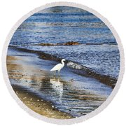 A Visit To The Beach Round Beach Towel