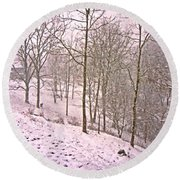 A Walk In The Snow Round Beach Towel