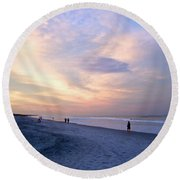 A Walk On The Beach Round Beach Towel