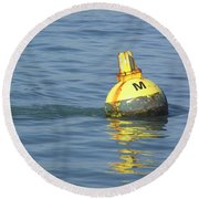 A Water Buoy In The Blue Water Of San Francisco Bay Round Beach Towel