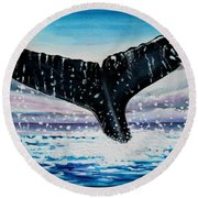 A Whale And A Violet Sunset Round Beach Towel