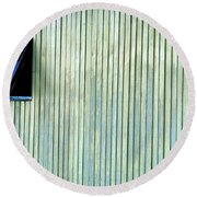 A Window In The Wall Of Wood Round Beach Towel