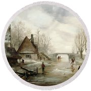 A Winter Landscape With Figures Skating Round Beach Towel by Dutch School