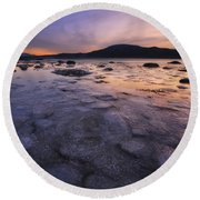 A Winter Sunset At Evenskjer In Troms Round Beach Towel