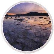 A Winter Sunset At Evenskjer In Troms Round Beach Towel by Arild Heitmann