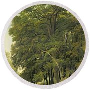A Wooded Landscape  Round Beach Towel
