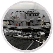 A Yokosuka Naval Tugboat Prepares Round Beach Towel