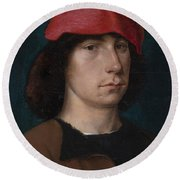 A Young Man In A Red Cap Round Beach Towel by Michiel Sittow