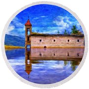 Abandoned Church In Macedonia Round Beach Towel
