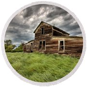 Abandoned Farm Buildings Saskatchewan Round Beach Towel