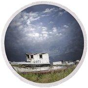 Abandoned Fishing Boat In Washington State Round Beach Towel