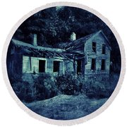 Abandoned House At Night Round Beach Towel
