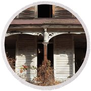 Abandoned House Facade Rusty Porch Roof Round Beach Towel