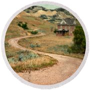 Abandoned House On Dirt Road Round Beach Towel