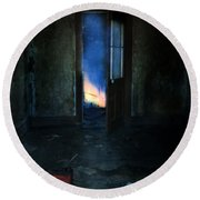 Abandoned House On Fire Round Beach Towel