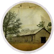 Abandoned Tobacco Barn Round Beach Towel by Carla Parris