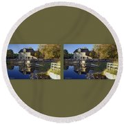 Abbotts Pond - Gently Cross Your Eyes And Focus On The Middle Image Round Beach Towel