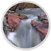 Above The Castor River Shut Ins II Round Beach Towel