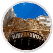 Above The Front Entry San Xavier Mission Round Beach Towel