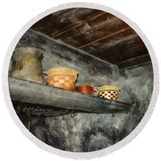 Above The Stove Round Beach Towel by Jutta Maria Pusl