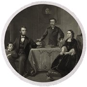 Abraham Lincoln And Family Round Beach Towel
