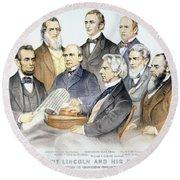 Abraham Lincolns Cabinet Round Beach Towel