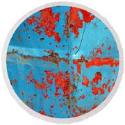 Abstrac Texture Of The Paint Peeling Iron Drum Round Beach Towel