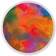 Abstract - Crayon - Melody Round Beach Towel by Mike Savad