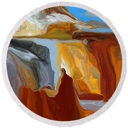 Abstract  101311b Round Beach Towel