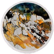 Abstract 210152 Round Beach Towel
