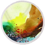 Abstract 5 Round Beach Towel by Anil Nene