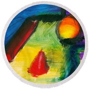 Abstract - Acrylic - Primitives Round Beach Towel by Mike Savad