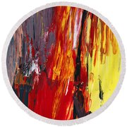 Abstract - Acrylic - Rising Power Round Beach Towel by Mike Savad