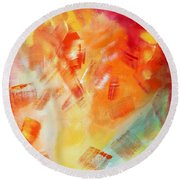 Abstract Art Colorful Bright Pastels Original Painting Spring Is Here I By Madart Round Beach Towel