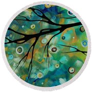 Abstract Art Original Landscape Painting Colorful Circles Morning Blues II By Madart Round Beach Towel